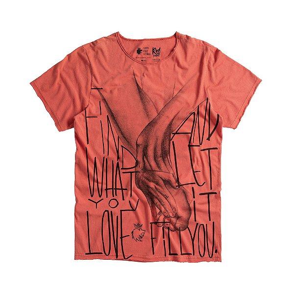 Camiseta masculina estampa de massagem pés - Vermelho