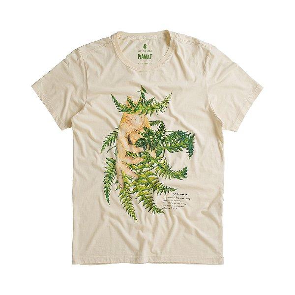 Camiseta masculina estampa leão de erva-doce - Bege