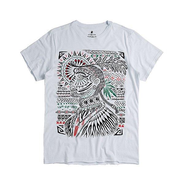 Camiseta masculina estampa guerreiro idonésio - Branco