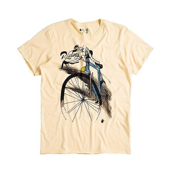 Camiseta masculina estampa bike ciclista modelagem padrão - Amarelo