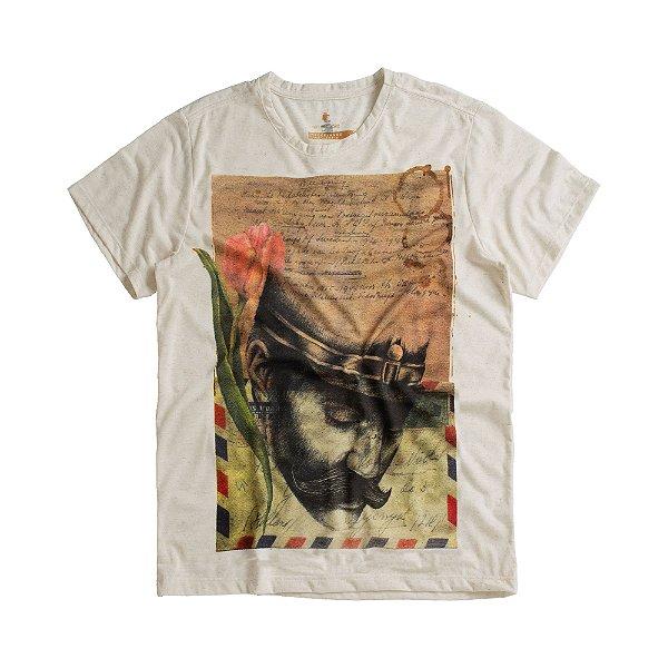 Camiseta masculina malha linho estampa memórias Mr. Völke - Bege