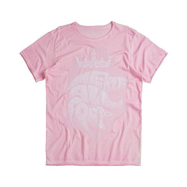 Camiseta masculina estampa leão mente alma e corpo - Rosa