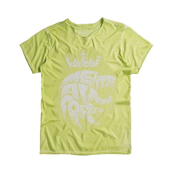 Camiseta masculina estampa leão mente alma e corpo - Verde