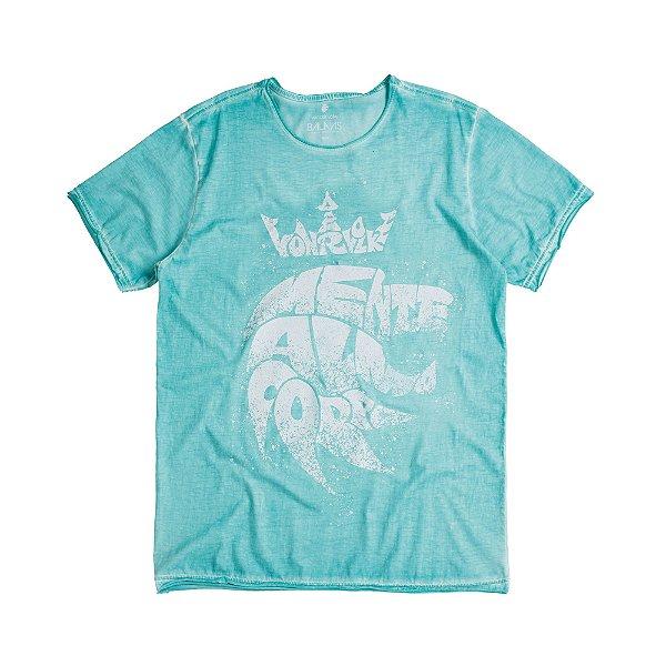 Camiseta masculina estampa leão mente alma e corpo - Turquesa
