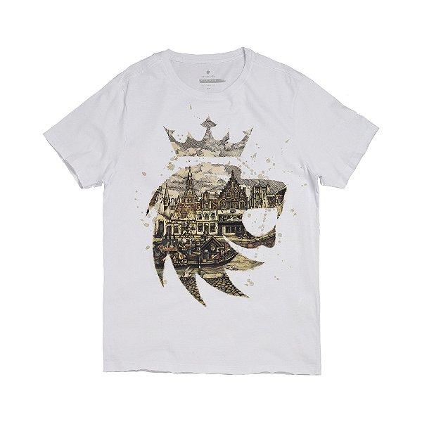 Camiseta masculina estampa leão ilustração de Rotterdam - Branco