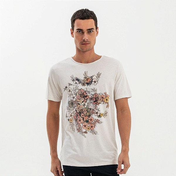 Camiseta masculina de linho estampa leão Vøn der Völke floral - Bege