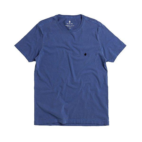 Camiseta básica masculina estonada gola redonda e manda curta - Azul