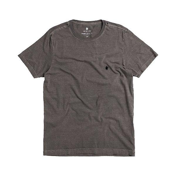 Camiseta básica masculina estonada gola redonda e manda curta - Preto