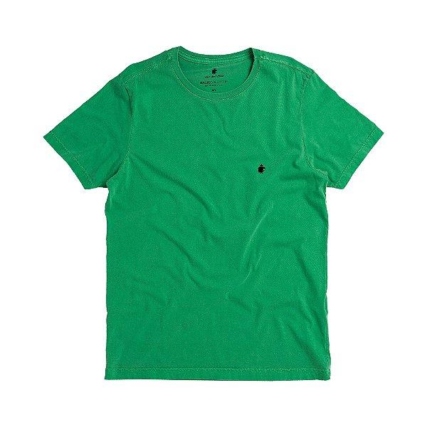 Camiseta básica masculina estonada gola redonda e manda curta - Verde