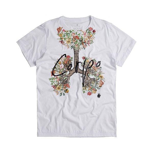 Camiseta masculina estampa pulmão floral lettering corpo - Branco