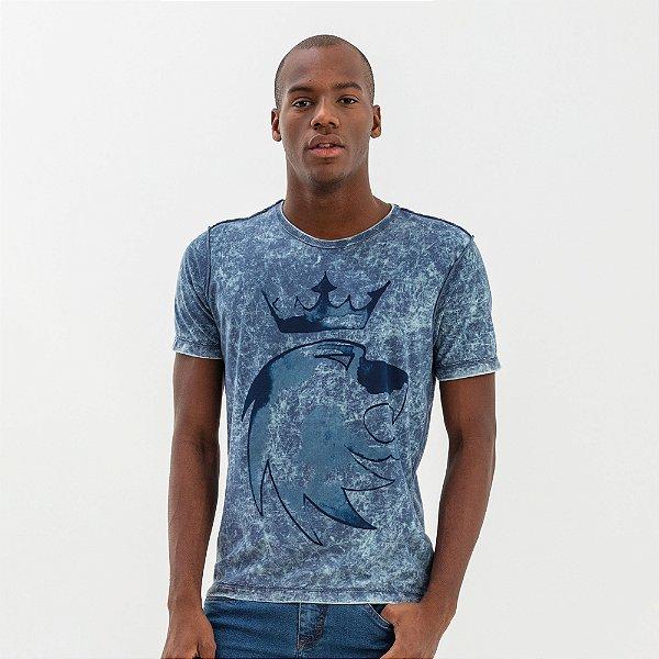 Camiseta masculina dupla face manga curta leão Vøn der Völke - Azul