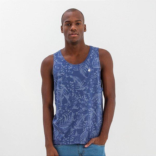 Regata masculina concept estampa de folhagens - Azul