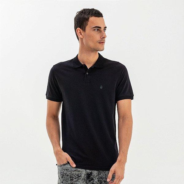 Camisa polo masculina básica em piquet - Preto
