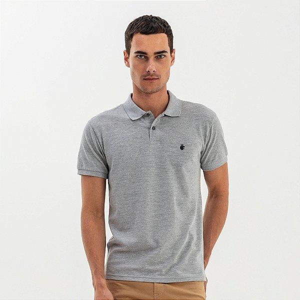 Camisa polo masculina básica em piquet - Mescla