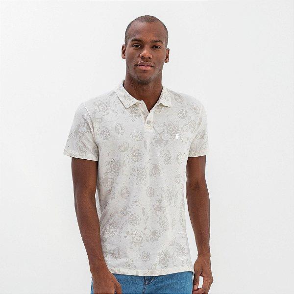 Camisa polo masculina malha botonê estampa floral - Bege