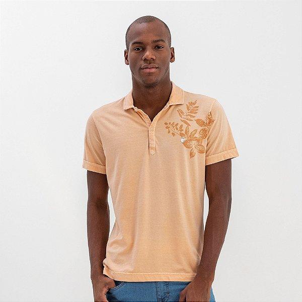 Camisa polo masculina estonada com estampa floral - Rosa