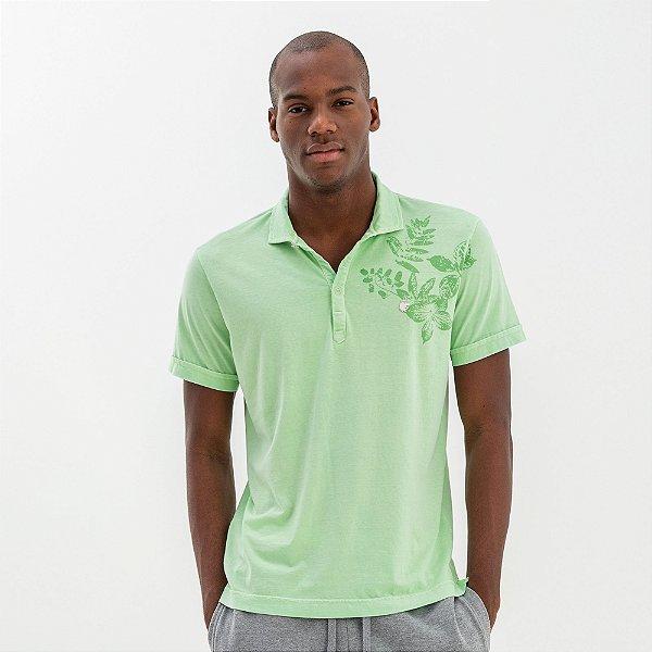 Camisa polo masculina estonada com estampa floral - Verde