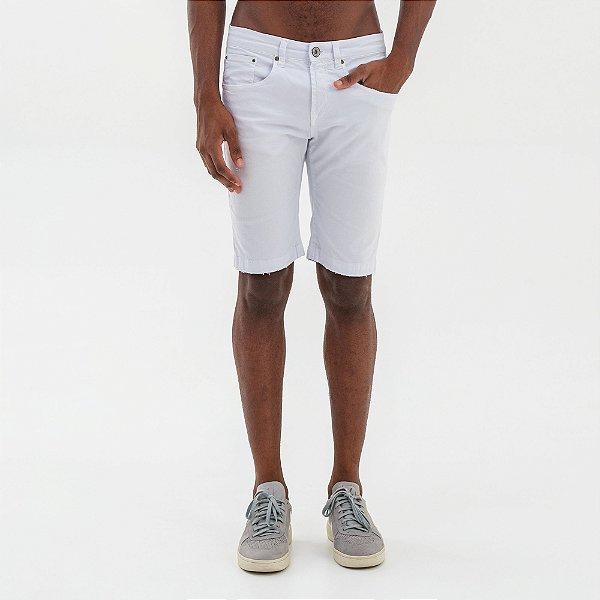 Bermuda slim masculina de sarja - Branco