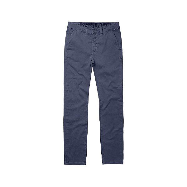 Calça chino ajustada masculina de sarja - Azul