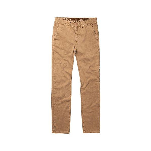 Calça chino ajustada masculina de sarja - Bege
