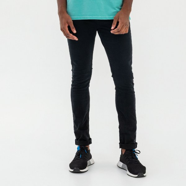 Calça masculina de sarja modelagem slim - Preto