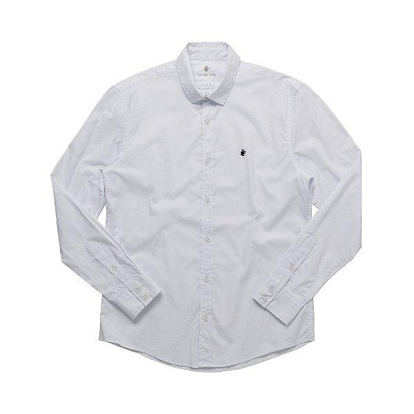 Camisa social manga longa básica masculina de tricoline  - Branco
