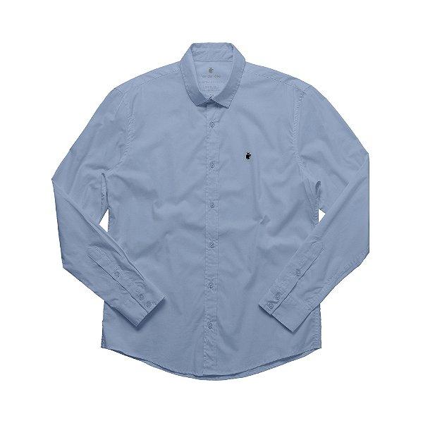 Camisa social manga longa básica masculina de tricoline  - Azul