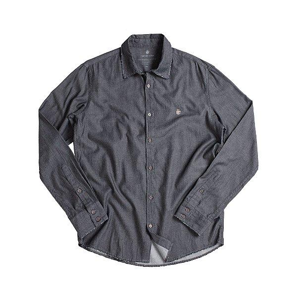 Camisa manga longa masculina de tricoline - Preto