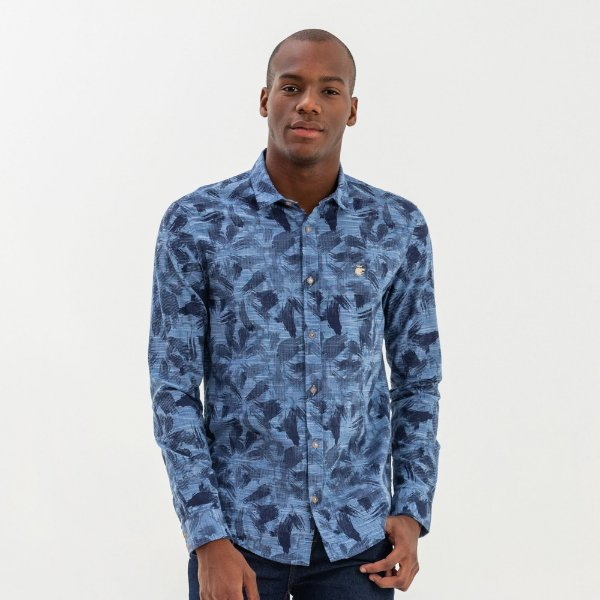 Camisa unissex manga longa estampada efeito pincelada - Azul