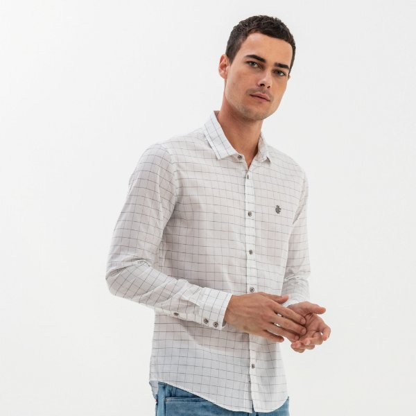 Camisa xadrez masculina de manga longa - Branco