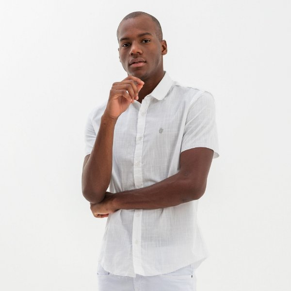 Camisa masculina de manga curta estampa nas costas - Branco