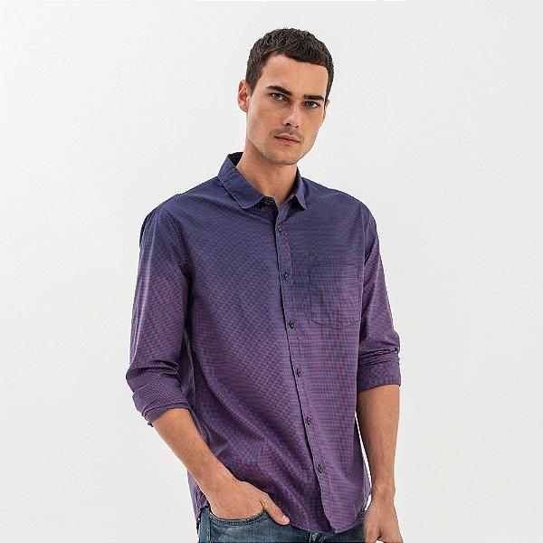 Camisa masculina manga longa estampa micro xadrez com bolso - Azul