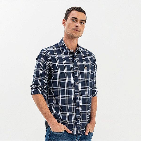 Camisa masculina manga longa estampa xadrez - Azul