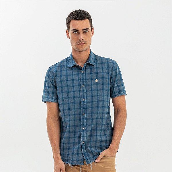 Camisa masculina manga curta estampa xadrez - Azul