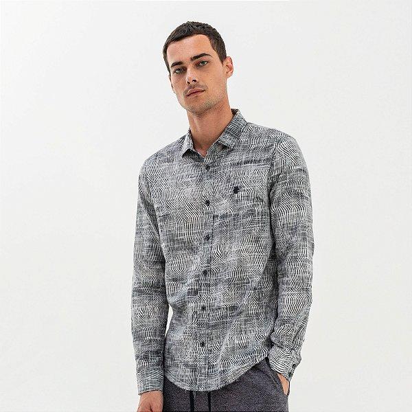 Camisa masculina de manga longa com estampa abstrata - Preto
