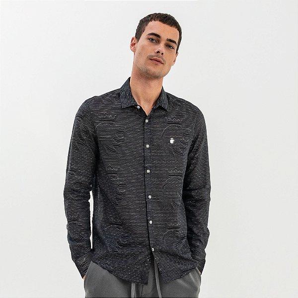 Camisa masculina de manga longa com estampa padronagem leão - Preto