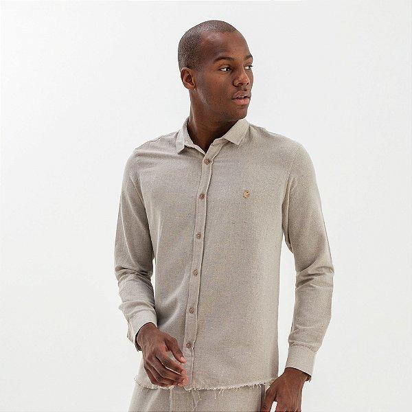 Camisa masculina ecológica de manga longa - Bege