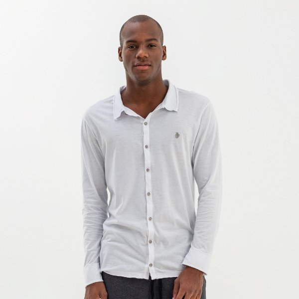 Camisa masculina básica em malha de manga longa - Branco