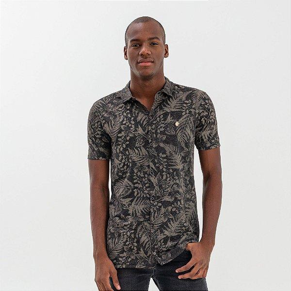 Camisa masculina de malha de linho estampa de plantas manga curta - Preto