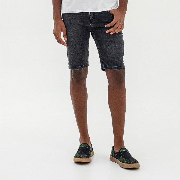Bermuda jeans masculina de modelagem slim - Denim