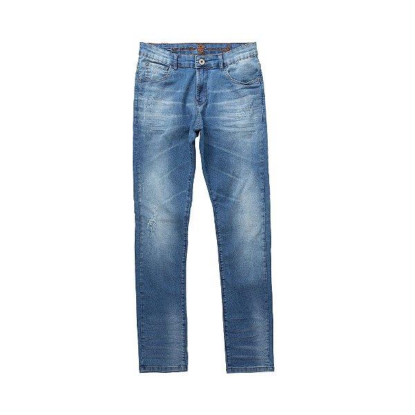 Calça jeans masculina slim efeito desgaste e puídos - Denim