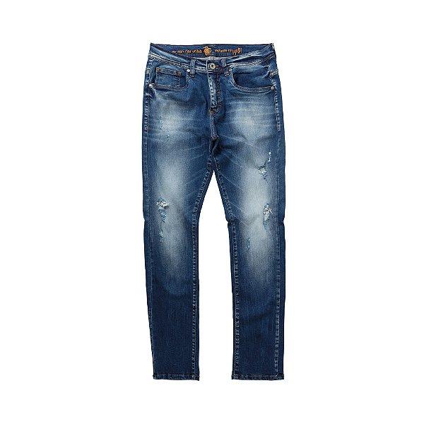 Calça jeans masculina de modelagem slim destroyed - Denim