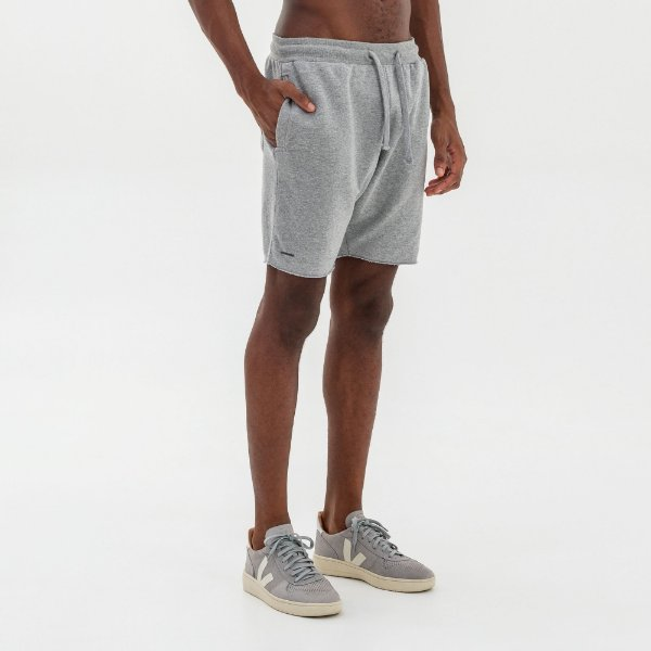 Bermuda moletom masculina básica com elástico e bolso frontal - Mescla