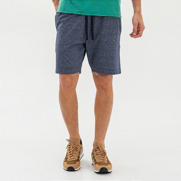 Bermuda moletom masculina com elástico contrastante - Azul