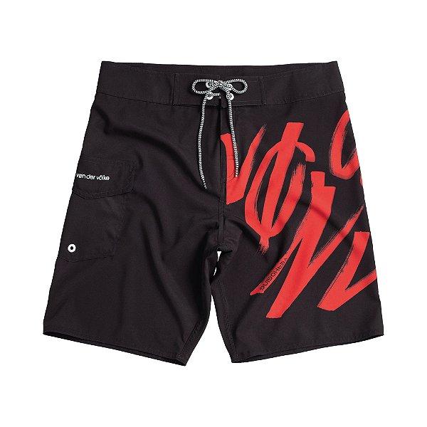 Bermuda de praia com amarração na cintura estampa lettering - Preto