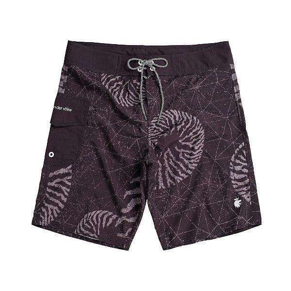 Bermuda de praia com amarração na cintura estampa abstrata - Preto