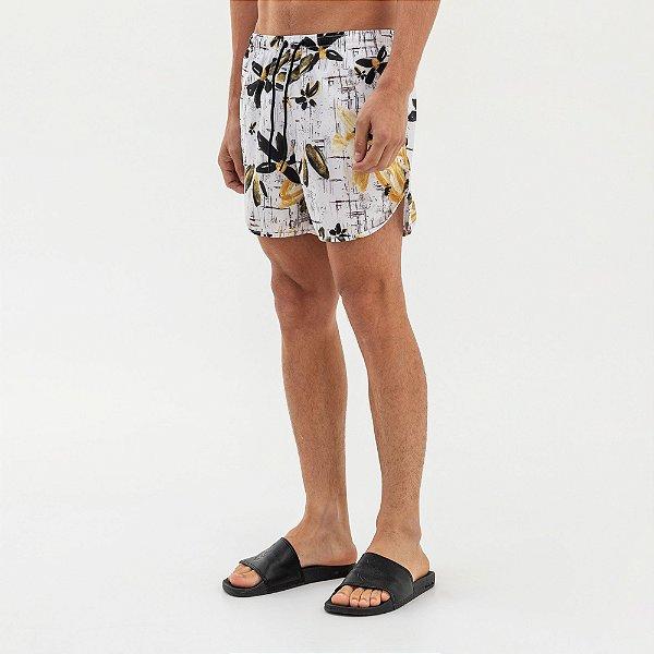 Bermuda de praia unissex amarração na cintura estampa floral - Branco