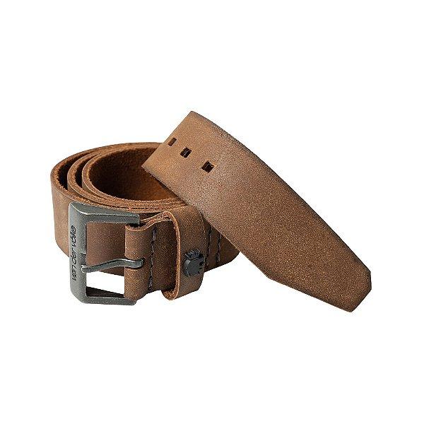 Cinto largo de couro com fivela metálica personalizada - Marrom