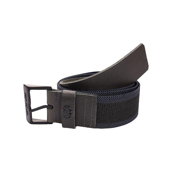 Cinto largo de elástico e couro com fivela metálica personalizada - Preto
