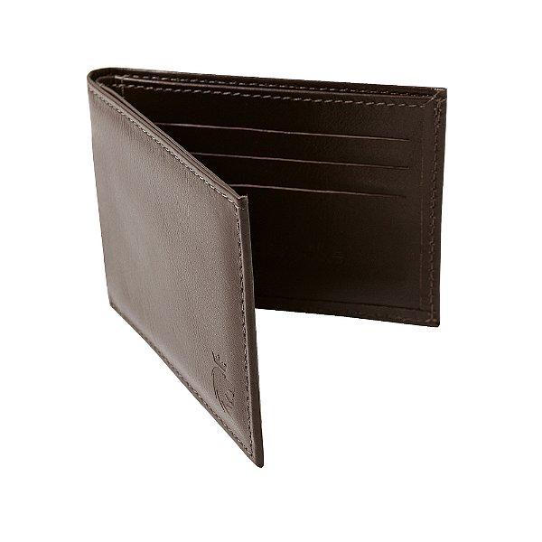 Carteira couro compartimento para 6 cartões - Marrom